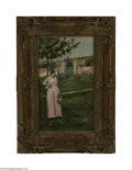 Fine Art:Paintings, CHARLES STANLEY REINHART (American 1844-1896) Woman in a Landscape16.25in. x 9.63in. Signed lower right Provenance: Ate...