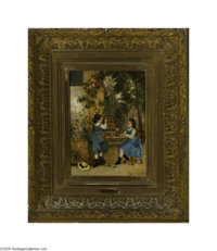 CAMILLE LEOPOLD CABAILLOT LASSALE (French b. 1839) Girls Picking Roses, 1876 Oil on board 13in. x 9.25in. Signed and dat...