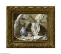 Fine Art:Paintings, PASCAL DE BEUCKER (Belgian 1881-1944) Still Life with Parasol, Vase and Ostrich Feathers Oil on canvas 12in. x 16in. Sig...