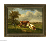 Attributed to VICTOR DE GRAILLY (French 1804-1889) Pastoral Scene, 1862 Oil on canvas laid down on board 20.75in. x 28.2...