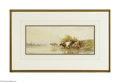 Fine Art:Paintings, THOMAS SIDNEY COOPER (British 1803-1902) Cattle Watering, 1967Watercolor on paper 8.75in. x 19.75in. Signed lower right...