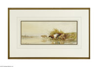 THOMAS SIDNEY COOPER (British 1803-1902) Cattle Watering, 1967 Watercolor on paper 8.75in. x 19.75in. Signed lower right...