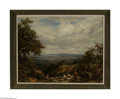 WILLIAM LINNELL (British 1826-1906) Shepherds on a Hilltop in Surrey, 1876 Oil on canvas 27.25in. x 36in. Signed and dat...