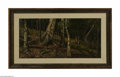 Paintings, Attributed to WILLIAM KEITH (American 1831-1911). Forest Interior. Oil on canvas. 14in. x 28.25in.. Condition Report: Canv...