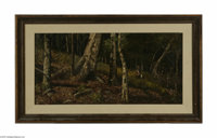 Attributed to WILLIAM KEITH (American 1831-1911) Forest Interior Oil on canvas 14in. x 28.25in.  Condition Report: Canv...