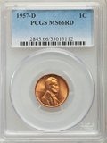 Lincoln Cents, 1954-S 1C MS66 Red PCGS. This lot will also include the following: 1955-D 1C MS66 Red PCGS; and (3)1957-D 1C MS6... (Total: 5 coins)