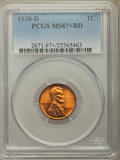 1938-D 1C MS67+ Red PCGS. PCGS Population: (446/1 and 42/0+). NGC Census: (790/1 and 3/0+). CDN: $85 Whsle. Bid for prob...