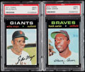 Baseball Cards:Lots, 1971 Topps Hank Aaron & Willie Mays PSA NM 7 Graded Pair(2)....
