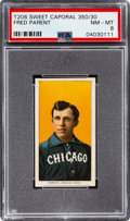 Baseball Cards:Singles (Pre-1930), 1909-11 T206 Sweet Caporal 350/30 Fred Parent PSA NM-MT 8 - Pop Five, None Higher! ...