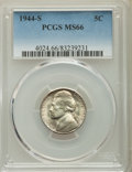 Jefferson Nickels, (4)1944-S 5C MS66 PCGS. This lot will also include a: 1944-S 5C MS66+ PCGS. PCGS Population: (3169/214). NGC Census: ... (Total: 5 coins)
