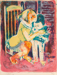 20th Century School Mother and Child, 1962 Lithograph in colors on paper 12 x 9-1/2 inches (30.5