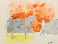 Paul Guiramand (French, 1926-2008) Horse and Man Mixed media on paper 19-1/4 x 25 inches (48.9 x