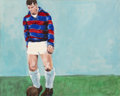 Paintings, Tellman (British, 20th Century). Rugby Player, 1965. Oil on canvas. 24 x 30 inches (61.0 x 76.2 cm). Signed and dated lo...