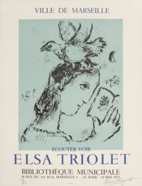After Marc Chagall (French/Russian, 1887-1985) Elsa Triolet, exhibition poster, 1972 Offset lithogra