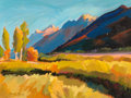 Fine Art - Painting, American, Barbara Thayer Zaring (American, 20th Century). SunsetMountain. Oil on canvas. 18 x 24 inches (45.7 x 61.0 cm).Signed ...