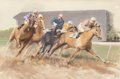 Works on Paper, John Skeaping (British, 1901-1980). Horse Race at the Bend. Watercolor and gouache on paper. 19-1/4 x 29-1/4 inches (48....