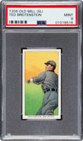 Baseball Cards:Singles (Pre-1930), 1909-11 T206 Old Mill Ted Breitenstein PSA Mint 9 - Pop One, NoneHigher! ...