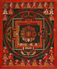 A Tibetan Mandala Thangka with Abbot Lineage, 18th century 15-1/4 inches high x 13 inches wide (38.7 x 33.0 cm) (w