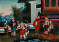 Asian:Chinese, A Chinese Reverse Glass Painting Depicting Taoist Deities andAttendants, Qing Dynasty, 19th century. 16-1/8 inches...