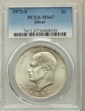 Eisenhower Dollars, 1972-S $1 Silver MS67 PCGS. This lot will also include the following: 1972-S $1 Silver MS67 PCGS; 1977-D $1 MS65 PCG... (Total: 4 coins)