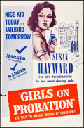 "Movie Posters:Crime, Girls on Probation (Dominant Pictures, R-1956). One Sheet (27"" X41""). Crime.. ..."