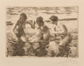 Prints & Multiples, Anders Leonard Zorn (Swedish, 1860-1920). Against the Current, 1919. Etching on paper. 4-1/2 x 6-3/8 inches (11.4 x 16.2...