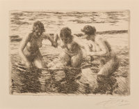 Anders Leonard Zorn (Swedish, 1860-1920) Against the Current, 1919 Etching on paper 4-1/2 x 6-3/8