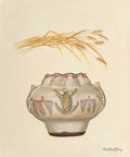 Fine Art - Painting, American, Ford Ruthling (American, 1933-2015). Zuni Ceremonial Pot withWheat, 1975. Oil on canvas. 24 x 20 inches (61.0 x 50.8 cm...