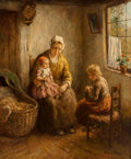 Fine Art - Painting, European, Cornelis Wouter Bouter (Dutch, 1888-1966). Mother with Children. Oil on canvas. 30 x 25 inches (76.2 x 63.5 cm). Signed ...