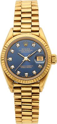 Rolex Lady's Diamond, Gold Oyster Perpetual DateJust Watch, Circa 1982