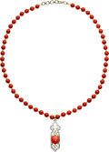 Estate Jewelry:Necklaces, Coral, Diamond, Freshwater Cultured Pearl, Gold, Yellow Metal Necklace . ...