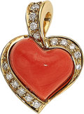 Estate Jewelry:Pendants and Lockets, Coral, Diamond, Gold Pendant, Leo Wittwer. ...