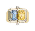 Estate Jewelry:Rings, Sapphire, Gold Ring The ring features an emera...