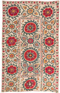 Asian:Other, An Uzbek Shakhrisabz Suzani Textile, early 19th century. 100 incheslong x 63 inches wide (254 x 160.0 cm). ...