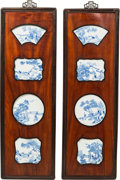 Asian:Chinese, Eight Chinese Blue and White Porcelain Plaques Mounted in TwoHardwood Panels, porcelain Qing Dynasty. 55-1/2 inches high x ...(Total: 2 Items)