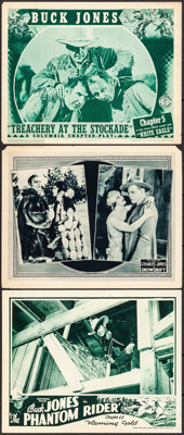 "The Phantom Rider & Other Lot (Universal, 1936). Overall: Very Fine-. Lobby Cards (3) (11"" X 14"") Chap..."