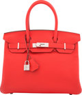 """Luxury Accessories:Bags, Hermes 30cm Rouge Tomate Clemence Leather Birkin Bag with Palladium Hardware. A, 2017. Condition: 1. 11.5"""" Width x..."""