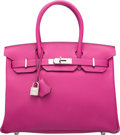 """Luxury Accessories:Bags, Hermes 30cm Rose Pourpre Togo Leather Birkin Bag with PalladiumHardware. A, 2017. Condition: 2. 11.5"""" Width x 8""""..."""