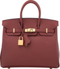 "Luxury Accessories:Bags, Hermes 25cm Rouge H Epsom Leather Birkin Bag with Gold Hardware. X, 2016. Condition: 1. 10"" Width x 8"" Height x 5""..."