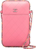 """Luxury Accessories:Bags, Chanel Pink Quilted Lambskin Leather Chain Around Phone Holder Bag. Condition: 2. 4.5"""" Width x 8"""" Height x 1.5"""" Depth..."""