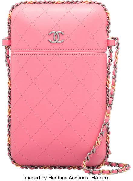 sale retailer dfe32 3cbc7 Chanel Pink Quilted Lambskin Leather Chain Around Phone Holder Bag ...