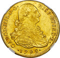 Colombia, Colombia: Charles IV gold 8 Escudos 1792 NR-JJ MS61 NGC,...
