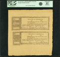 "Colonial Notes:Georgia, State of Georgia January 1782 Resolve ""Sales of ConfiscatedEstates"" Uncut Sheet of Two Fr. GA-125, Anderson-Smythe GA-1.Rema..."