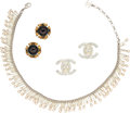 "Luxury Accessories:Accessories, Chanel Set of Three: Crystal CC Earrings, Aubergine Gripoix Earrings, & Faux Pearl Choker Necklace. Condition: 3. 1"" W... (Total: 3 Items)"