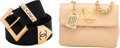 """Luxury Accessories:Accessories, Chanel Set of Two: Beige Quilted Mini Rectangular Flap Bag & Black Fabric Belt. Condition: 4. 5.5"""" Width x 4"""" Height x... (Total: 2 )"""