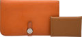 """Luxury Accessories:Accessories, Hermes Set of Two: Orange H Clemence Leather Dogon Wallet & Gold Calvi Leather Card Case. Condition: 4. 8"""" Width x 5"""" ... (Total: 2 Items)"""