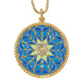Estate Jewelry:Pendants and Lockets, Diamond, Plique-á-Jour Enamel, Gold Pendant-Necklace, E. Dropsy ....