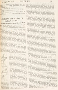 """[James D. Watson and Francis H. C. Crick (with Rosalind Franklin)]. """"Molecular Structure of Nucleic Acids"""" and..."""
