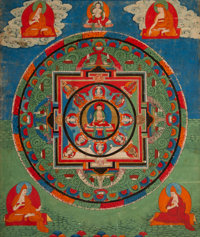 A Tibetan Mandala Thangka, 18th century 16 inches high x 13-1/2 inches wide (40.6 x 34.3 cm) (work)  PROVENA