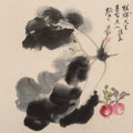 Asian:Chinese, Attributed to Zhang Daqian (Chinese, 1899-1983). Vegetables.Ink and color on paper. 16-3/4 inches high x 16-3/4 inches ...